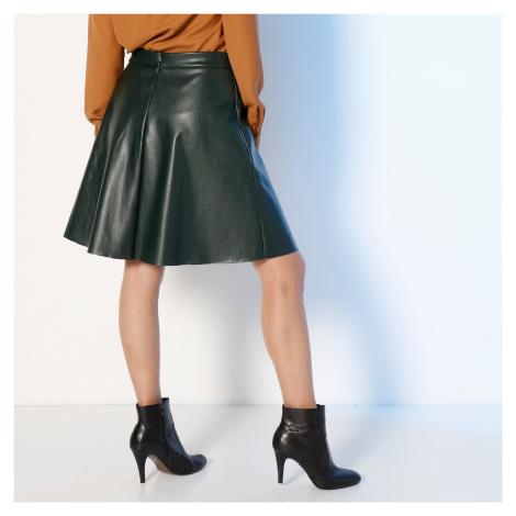 Blancheporte Krátká koženková (1) sukně lahvově zelená