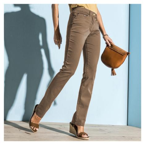 Blancheporte Rovné strečové kalhoty hnědošedá