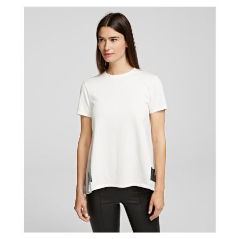 Tričko Karl Lagerfeld Pleated Fabric Mix T-Shirt - Bílá