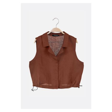 Trendyol Brown Jacket Collar Blouse
