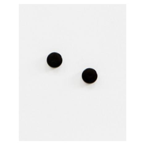 ASOS DESIGN 15mm slim plug earrings in black