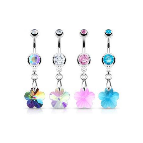 Piercing do pupíku - zirkonový kvítek, různé barvy - Barva zirkonu: Růžová - P Šperky eshop
