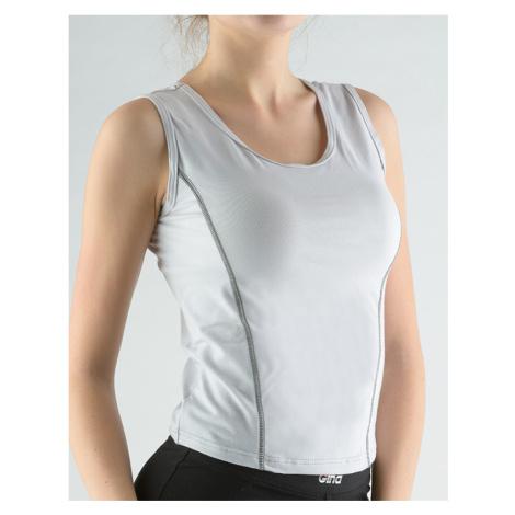 GINA Tričko bez rukávů zdobené kontrastním prošitím 98021-LGBDGM šedobílá
