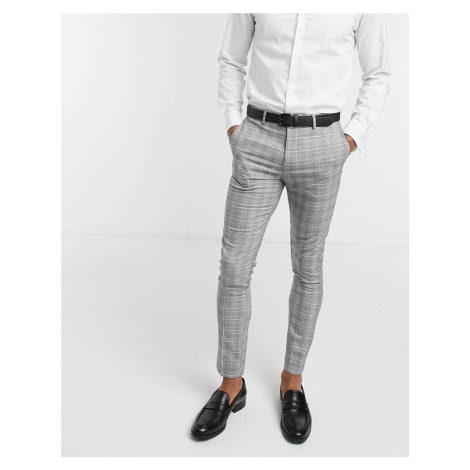 New Look check skinny suit trouser in grey