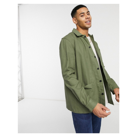 Burton Menswear 3 pocket overshirt in khaki-Green