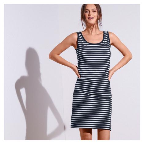 Blancheporte Pruhované šaty nám.modrá/bílá