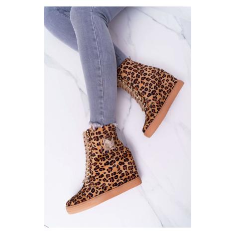Women's Wedge Sneakers Lu Boo Gold Chains Suede Leopard  Monica Kesi