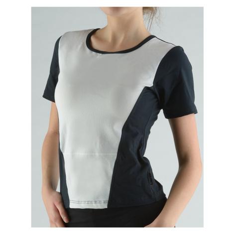 GINA Tričko s krátkým rukávem kulatý výstřih 98040-MxCMxB Černá-bílá