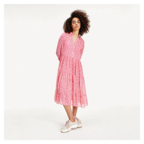 Tommy Jeans dámské růžové šaty Floral Tommy Hilfiger