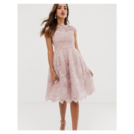 Chi Chi London premium lace midi prom dress with bardot neck in mink-Pink