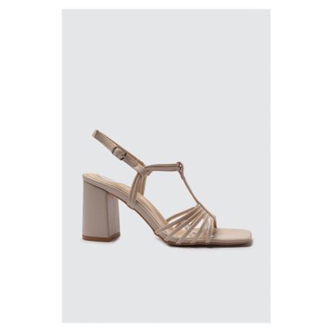 Trendyol Beige Square Toe Women's Classic Heeled Shoes