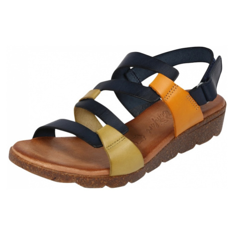COSMOS COMFORT Páskové sandály tmavě modrá / oranžová / rákos