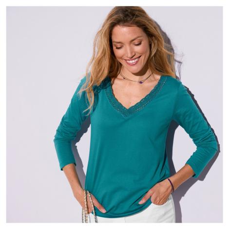 Blancheporte Jednobarevné tričko macramé s dlouhými rukávy tyrkysová