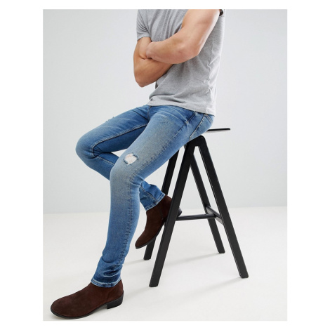 ASOS DESIGN super skinny jeans in dark wash blue with abrasions