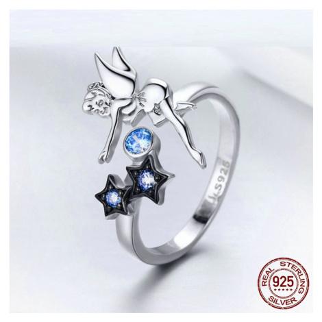 Stříbrný prsten Lesní víla s hvězdičkami a modrými kamínky