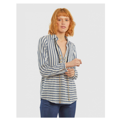 Košile La Martina Woman Stripe Blouse - Modrá