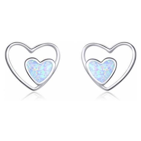 Linda's Jewelry Stříbrné náušnice Love Double Opál Ag 925/1000 IN291