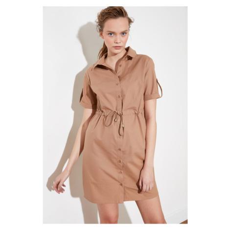 Trendyol Camel Tie Detail Shirt Dress