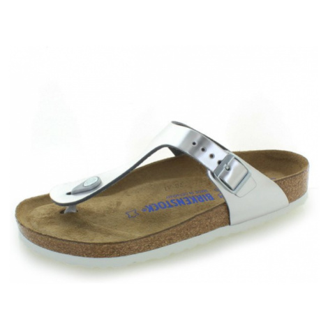 Dámské stříbrné kožené pantofle Gizeh NL Birkenstock