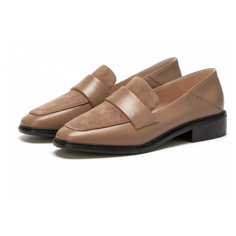 Kožené dámské boty nasazovací originální loafers na podpatku