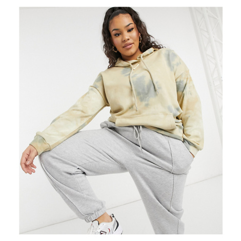 Sixth June Plus oversized hoodie in washed tie-dye co-ord-Neutral