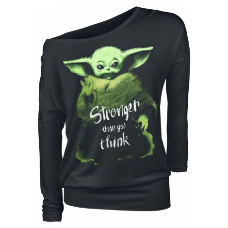 Star Wars The Mandalorian - Stronger Than You Think - Grogu Dámské tričko s dlouhými rukávy čern