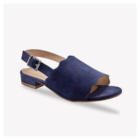 Blancheporte Sandály z kožené usně, námořnicky modré nám.modrá