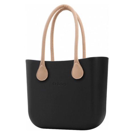 O bag černé kabelka Nero s dlouhými koženkovými držadly natural