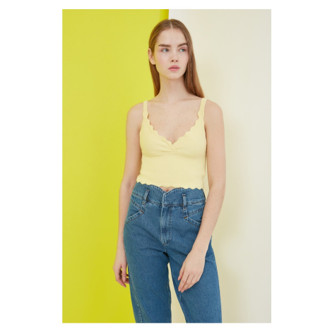 Trendyol Yellow Crop Knitwear Blouse