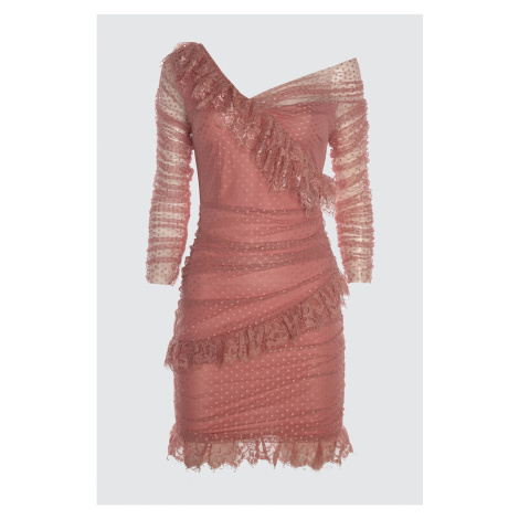 Trendyol Rose Dry Lace Detailed Tulle Dress