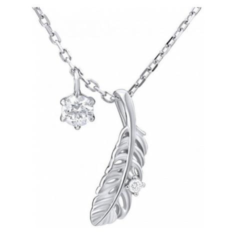 Silvego Decentní náhrdelník pírko s krystaly Swarovski MW11173S