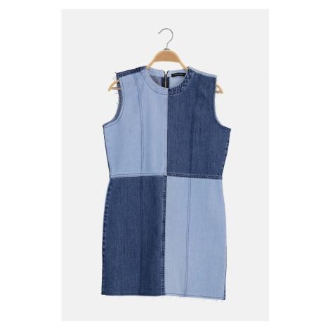 Trendyol Blue Color Block Mini Denim Dress