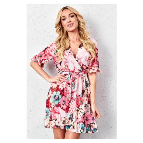 Letní květované šaty 1620 růžové