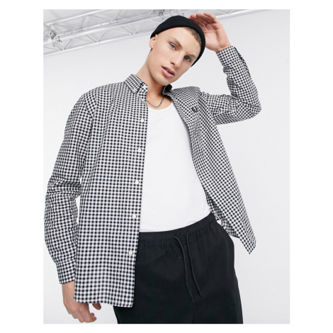 Fred Perry gingham long sleeve shirt in black