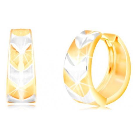 Kruhové náušnice ve 14K zlatě - kroužek s matným dvoubarevným vzorem V Šperky eshop