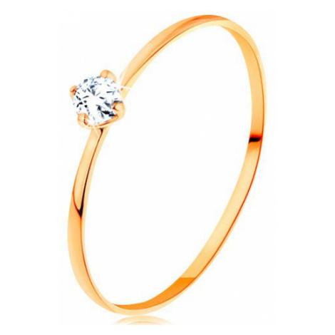 Prsten ze žlutého 14K zlata - tenká ramena, kulatý diamant čiré barvy Šperky eshop