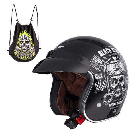 Moto Přilba W-Tec Kustom Black Heart Skull Horn, Matně Černá