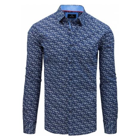 Dstreet Modrá premium košile se vzorem