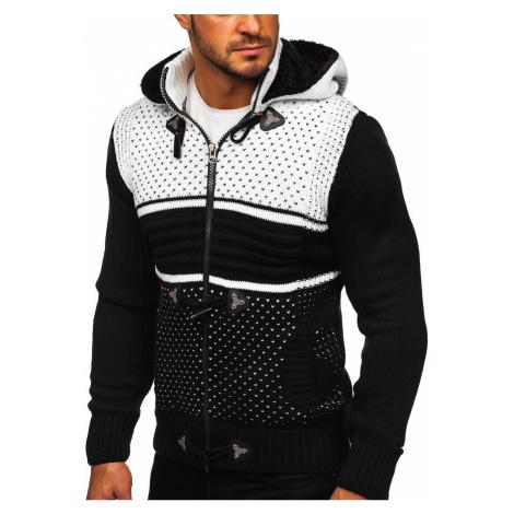 Černý pánský silný svetr na zip s kapucí bunda Bolf 2047 RWX