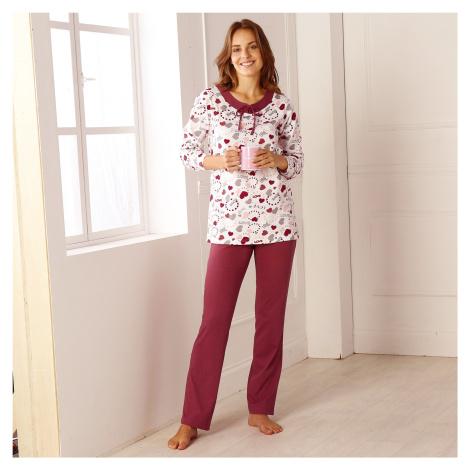 Blancheporte Pyžamo s potiskem srdcí třešňová