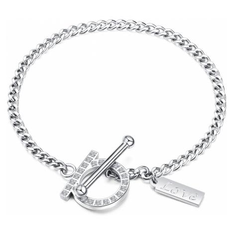 """Náramek z oceli, obdélníkový štítek, nápis """"Love"""", zirkonový prstenec, stříbrná barva Šperky eshop"""