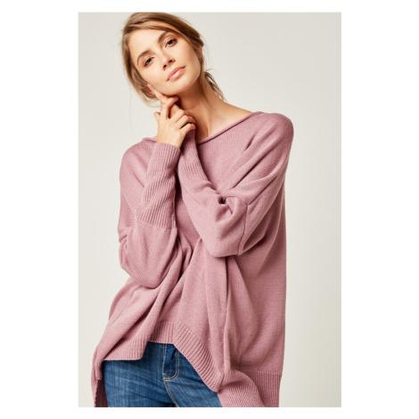 Dámský pletený oversize volný svetr delší vzadu dlouhé rukávy