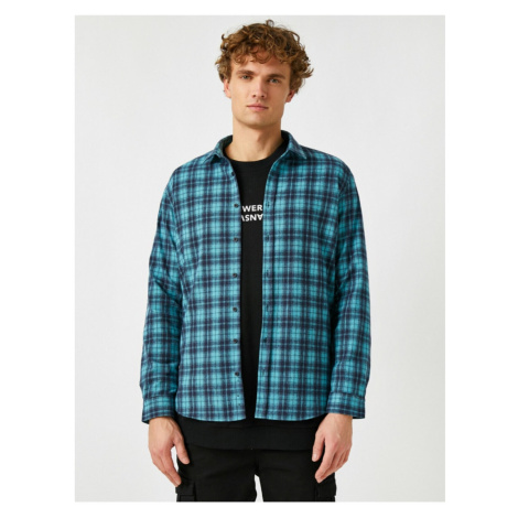 Koton Men's Green Checkered Regular Fit Classic Collar Long Sleeve Shirt
