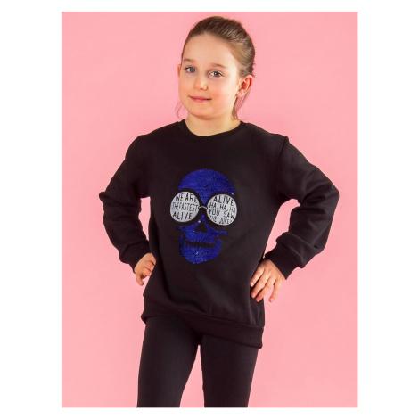 Black sweatshirt with an application Fashionhunters