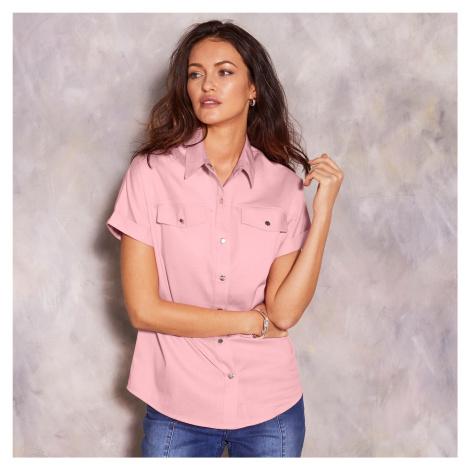 Blancheporte Jednobarevná košile s krátkými rukávy růžová