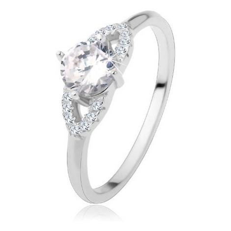 Stříbrný prsten 925, lesklá ramena, čirý zirkon, třpytivá kontura - zrnko Šperky eshop