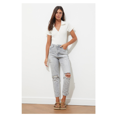 Trendyol Gray Ripped Detailed High Waist Mom Jeans
