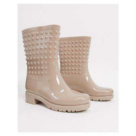 ASOS DESIGN Grateful studded wellie boots in pink