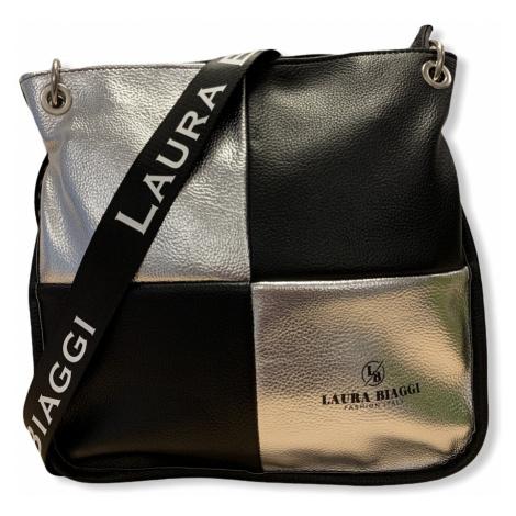 Dámská crossbody kabelka Laura Biaggi Jessica, černo / stříbrná