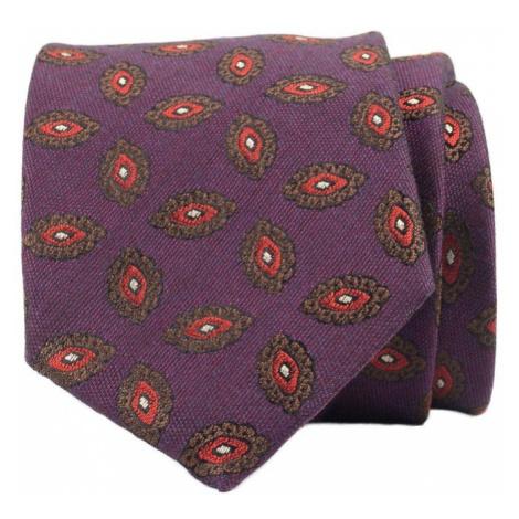 Fialová kravata s květy John & Paul z hedvábí a vlny